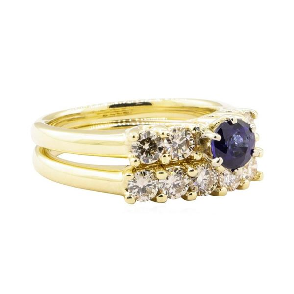 1.70 ctw Blue Sapphire And Diamond Ring And Band - 14KT Yellow Gold