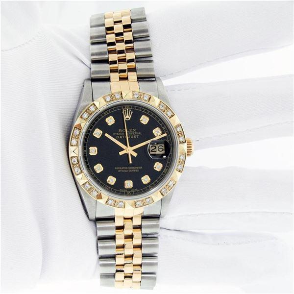Rolex Mens 2 Tone Black Pyramid Diamond 36MM Oyster Perpetual Datejust Wristwatc