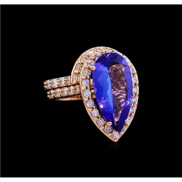 5.53 ctw Tanzanite and Diamond Ring Set - 14KT Rose Gold