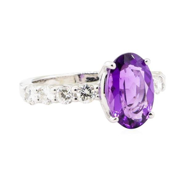 3.10 ctw Amethyst and Diamond Ring - 14KT White Gold