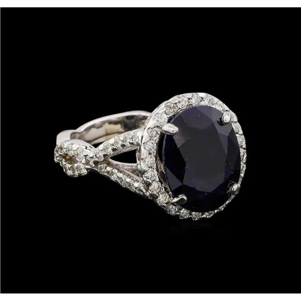 14KT White Gold 5.62 ctw Sapphire and Diamond Ring