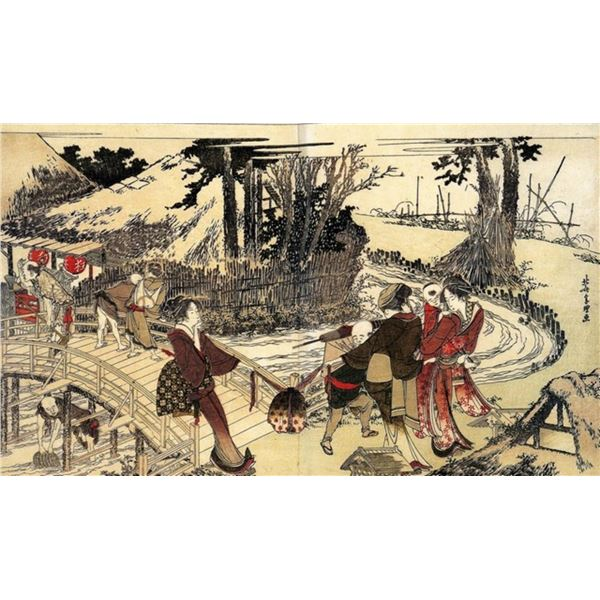 Hokusai - Village Near a Bridge