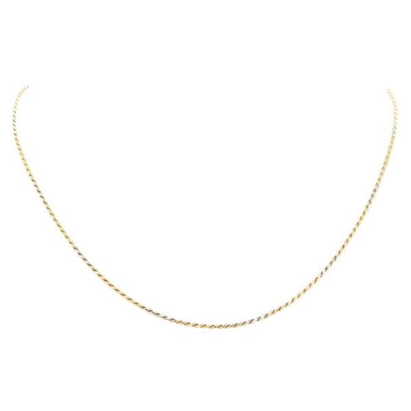 Twenty Inch Tri-color Rope Chain - 14KT Yellow, Rose, and White Gold