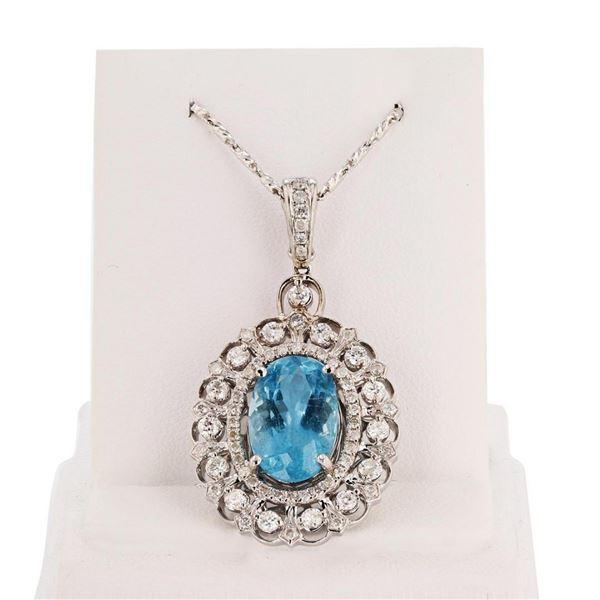 5.17 ctw Aquamarine and 1.10 ctw Diamond 14K White Gold Pendant