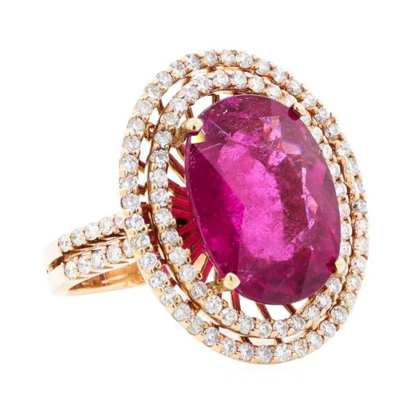 8.69 ctw Oval Mixed Rubellite And Round Brilliant Cut Diamond Ring - 14KT Rose G