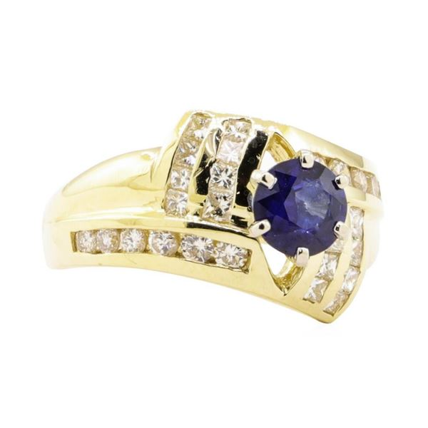 1.77 ctw Blue Sapphire And Diamond Ring - 14KT Yellow Gold