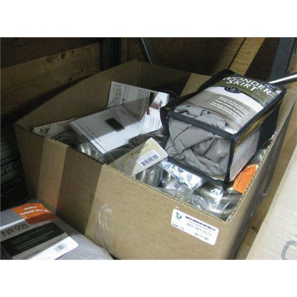 BOX OF HOUSEWARE DECOR HARDWARE CURTAIN ETC