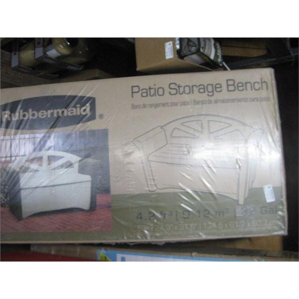 RUBBERMAID PATIO STORAGE BENCH 53 X 24 X 31 INCH APPROX