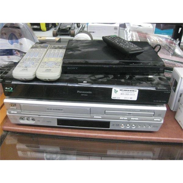 JVC VHS DVD COMBO / PANASONIC BLU RAY AND SONY CD DVD PLAYER USED