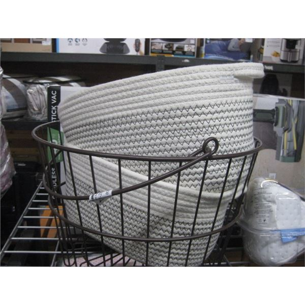 PAIR OF WOVEN AND METAL BASKET DECOR