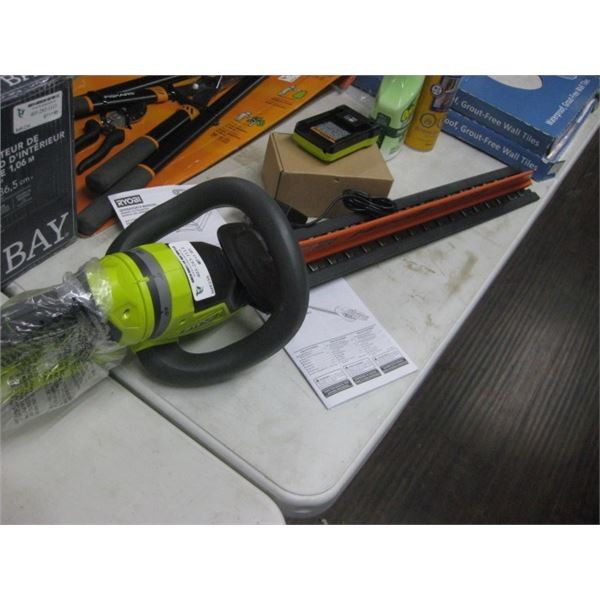 RYOBI 40 VOLT HEDGE TRIMMER W/ BATTERY AND CHARGER