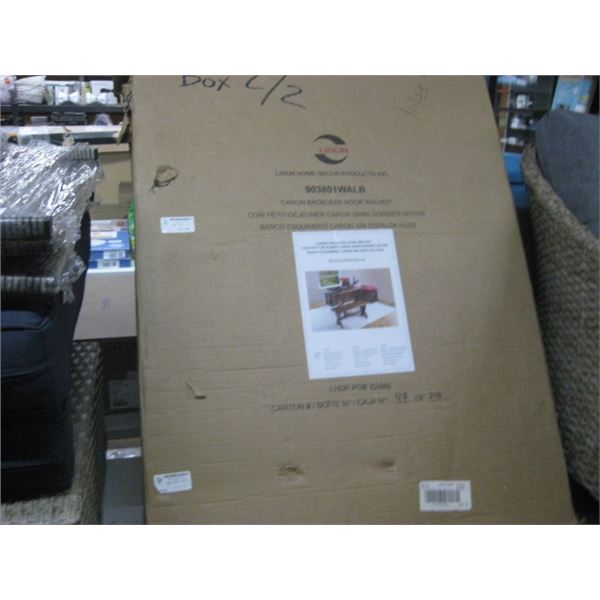 LINON CARON BACKLESS NOOK WALNUT 1 BOX OF 2 AS-IS