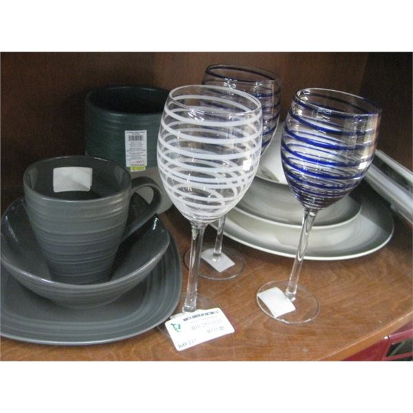 ASSORTED DISH AND GLASS WARE