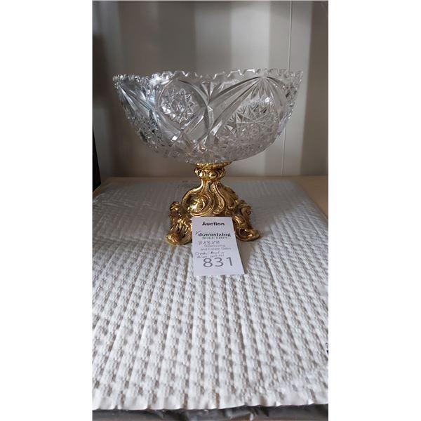Crystal Bowl on Brass Pedastal Cat A