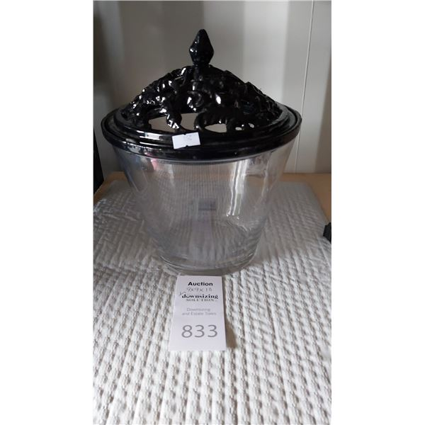 Glass Bowl with Black Metal Lid Cat A