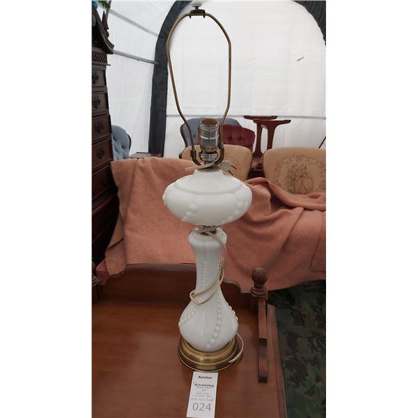 Milk Glass Lamp Cat B