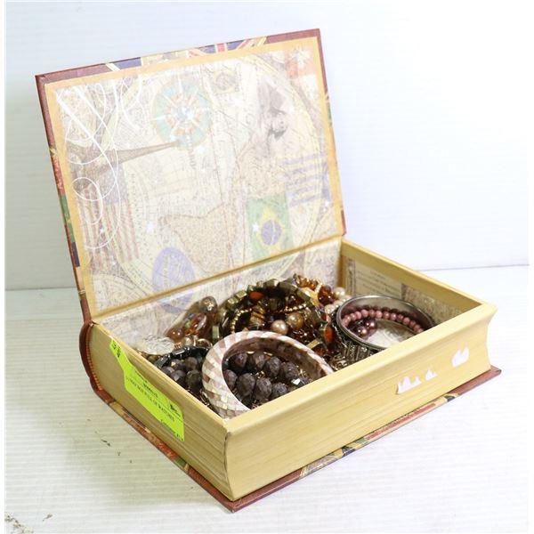 MAP BOX FULL OF COSTUME JEWELRY