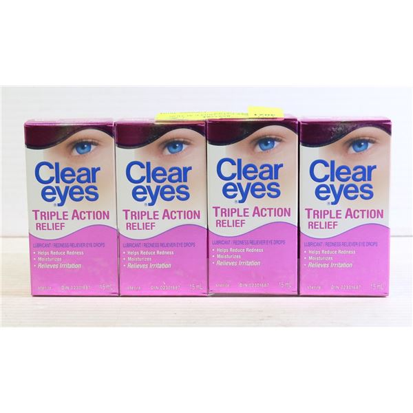 4 PK CLEAR EYES TRIPLE ACTION RELIEF EYE DROPS