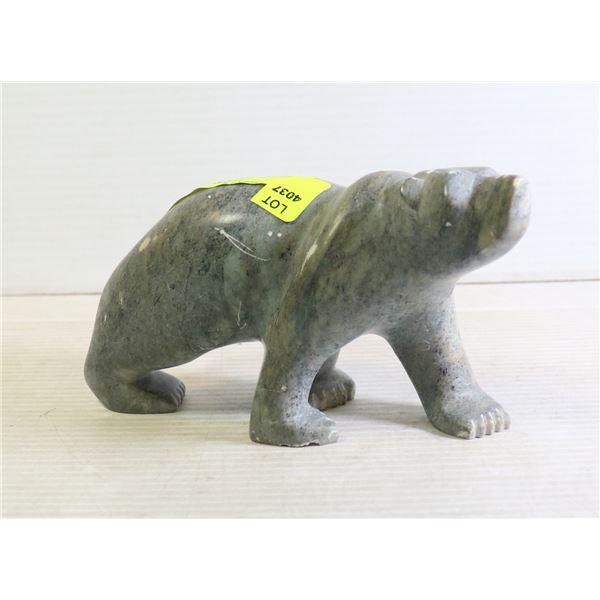 SOAPSTONE SCULPTURE BEAR SIGNED WITH INITIAL, HEAV
