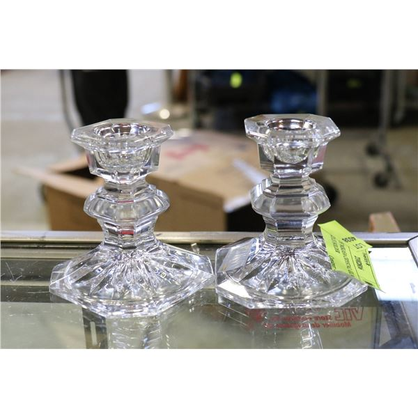 PAIR OF MIKASA CRYSTAL GLASS CANDLE HOLDER