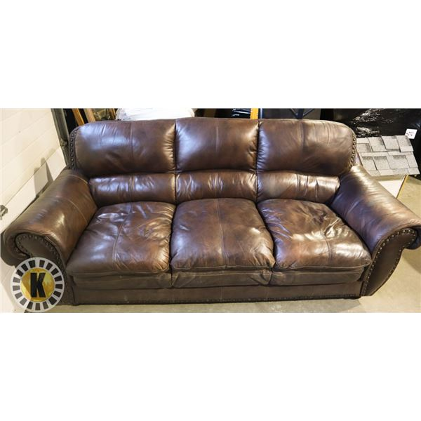 BROWN LEATHERETTE COUCH (USED)