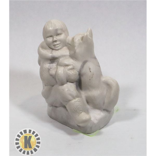 AARKTIK SCULPTURE WOLF WITH CHILD. HAND MADE IN