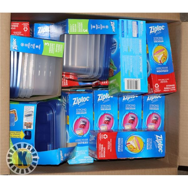 BOX OF ASSORTED ZIPLOCK BAGS AND CONTAINERS