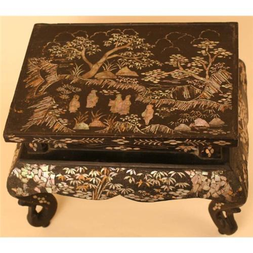 Japanese Antique Black Lacquer and Pearl Table #2300997