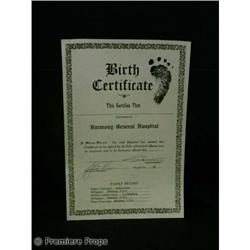 Passions BIRTH CERTIFICATE TV Movie Props