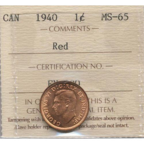 Graded 1940 Canada Penny ICCS MS65 RED