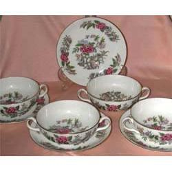 Wedgwood Cathay Creme Soup Cups & Saucers #2358176