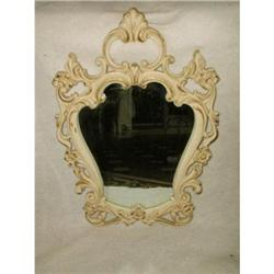 Petite Mirror Wooden Cream Gilt Carved #2358204