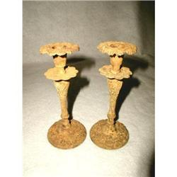 Pair Metal Candle Holders Crusty Yellow C.1910 #2358207