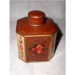 Belgium Tin Box Tole Painted Hexagonal C.1880 #2358215