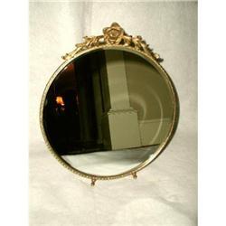 Victorian Vanity Mirror Brass Beveled C.1910-20#2358218