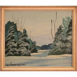 Winter snow trees Canada painting pine #2355686