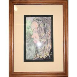 Woman in Beaded Braids by Rose Brown india ink #2355700