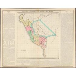 Original Map Peru South America Carey Lea 1822 #2355711
