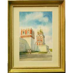 Watercolor of red building by Omf #2355723
