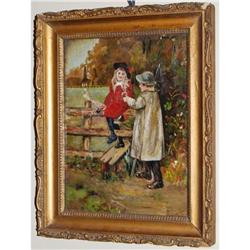Antique Oil on Board Garden Scene Children 1890#2370954