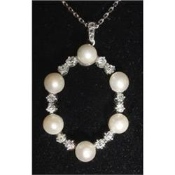 Platinum, Pearl and Diamond Necklace #2370960