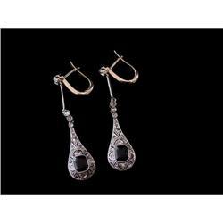 Art Deco 18K Platinum Diamond Onyx Earrings #2370964