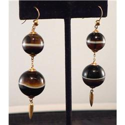 Antique Victorian 9K Gold Banded Agate Earrings#2370967