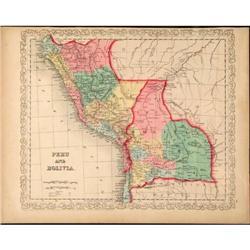 Antique Map Peru Bolivia Colton South America #2370971