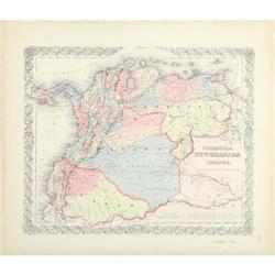 Antique Map Venezuela Ecuador Colton 1859 #2370973