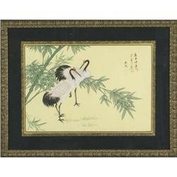 Chinese Woodblock Print of Cranes  #2370981