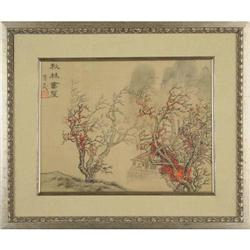 Chinese woodblock print trees landscape #2370982