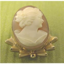 14K GF Carved Shell Cameo Brooch/Pendant #2370993