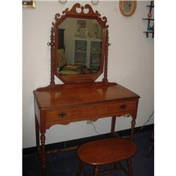 Vanity with Mirror ; Stool included   #2371002