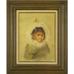 """Eskimo Child"" Stone portrait painting #2393516"